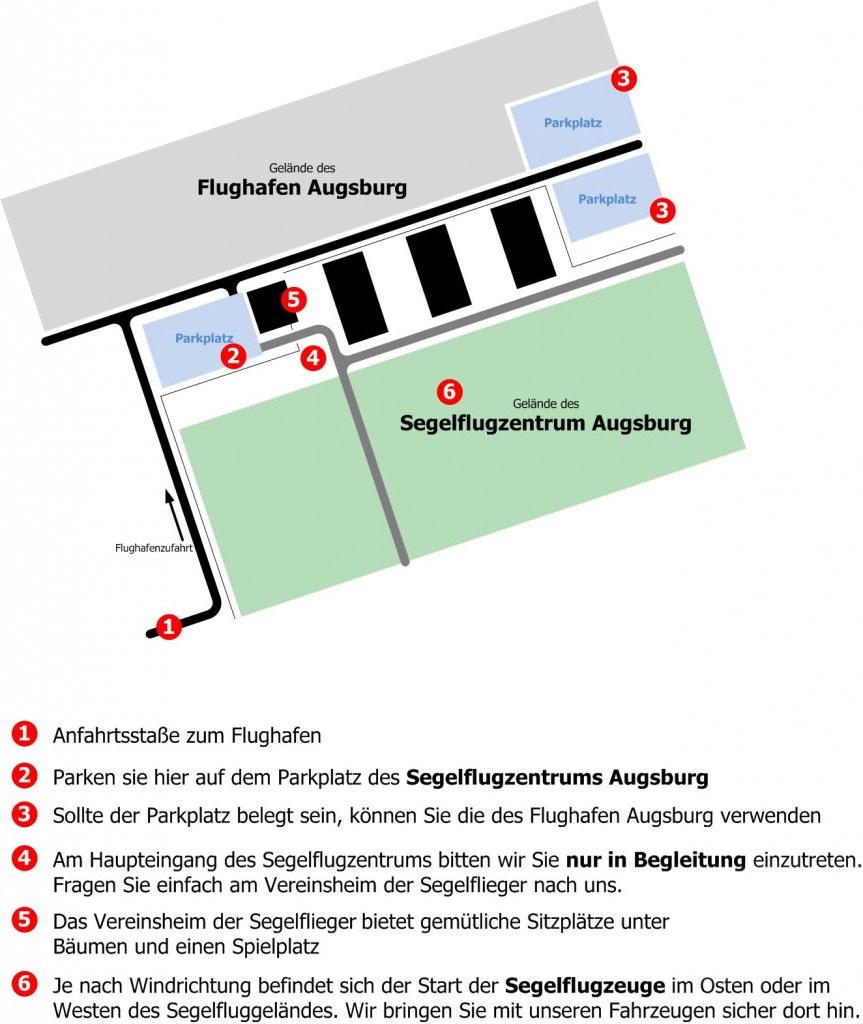 AVS Augsburg Segelfliegen Flugplatz Anfahrtsplan
