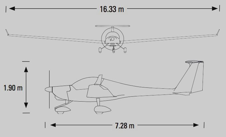 HK36 Super Dimona 3-Seiten-Ansicht