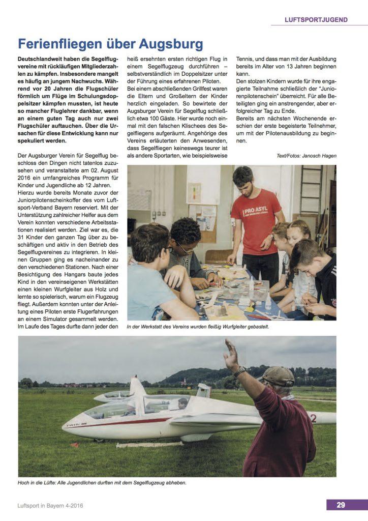 LVB-Zeitung Ferienfliegen über Augsburg - Segelflug AVS